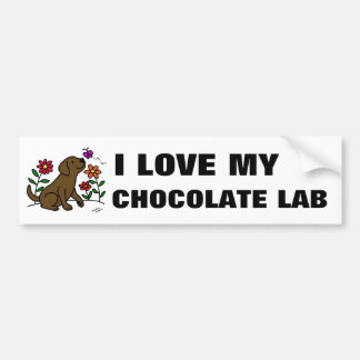 チョコレートラブラドール及び緑 バンパーステッカー
