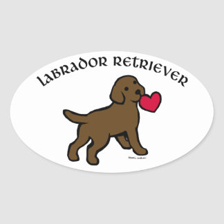 チョコレート実験室の子犬および赤いハート 楕円形シール