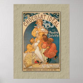チョコレート理想的なヴィンテージのフランス人の飲料 ポスター