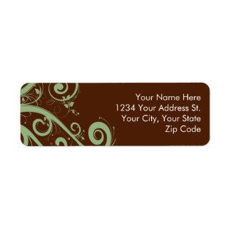 チョコレート真新しい差出人住所ラベル 返信用宛名ラベル