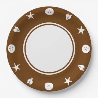チョコレート紙皿の夏の貝殻 ペーパープレート