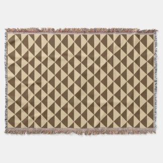 チョコレート色およびクリーム色の茶三角形のタイル スローブランケット