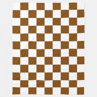チョコレート色および白いチェッカーボードの正方形 フリースブランケット