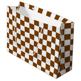 チョコレート色および白の点検 ラージペーパーバッグ