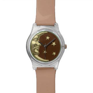 チョコレート色のアールデコの月および星-及び金ゴールド 腕時計