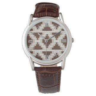 チョコレート色のイカットのアステカなパターン-および暗灰色 腕時計