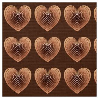 チョコレート色のサテンのハート ファブリック
