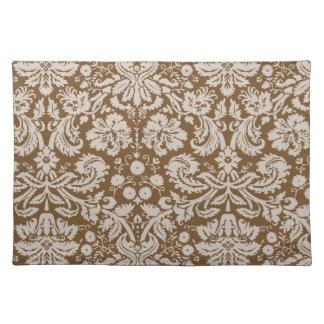 チョコレート色のダマスク織パターン ランチョンマット