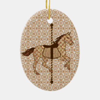 チョコレート色の回転木馬の馬-およびタン セラミックオーナメント