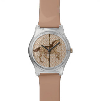 チョコレート色の回転木馬の馬-およびタン 腕時計
