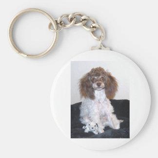 チョコレート色の幻影のPartiのプードルの子犬 キーホルダー