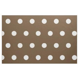 チョコレート色の白い水玉模様 ファブリック