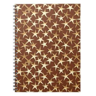 チョコレート色の金ゴールドの星 ノートブック