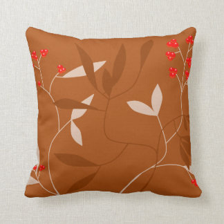 チョコレート葉および赤い果実の枕 クッション