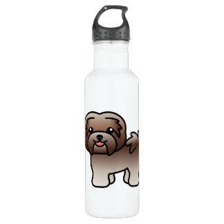 チョコレート銀製の漫画のHavanese犬 ウォーターボトル