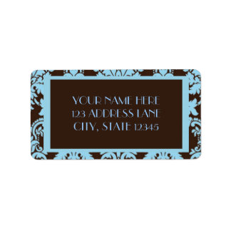 チョコレート青のダマスク織 ラベル