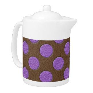 チョコレート革プリントの紫色の水玉模様