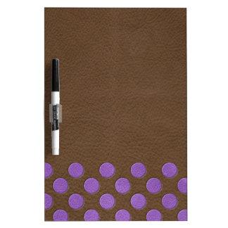 チョコレート革プリントの紫色の水玉模様 ホワイトボード