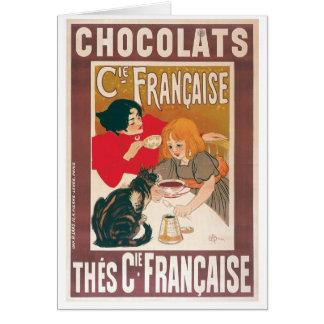 チョコレート~のヴィンテージのココアの飲み物の広告 カード