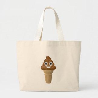 チョコレート・アイス・クリームはまたはそれですか。 Emojiのおもしろい ラージトートバッグ