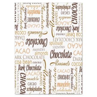 チョコレート、アーモンドおよび暗いチョコレート単語のコラージュ 薄葉紙