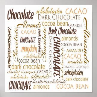 チョコレート、アーモンドおよび暗いチョコレート単語の雲 ポスター