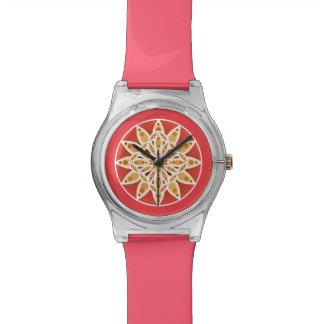 チョコレート、カラメルおよび珊瑚の曼荼羅パターン 腕時計
