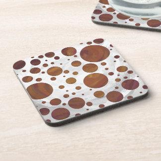 チョコレートCarmelの渦巻の水玉模様 コースター