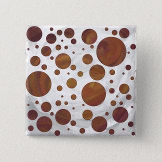 チョコレートCarmelの渦巻の水玉模様 5.1cm 正方形バッジ