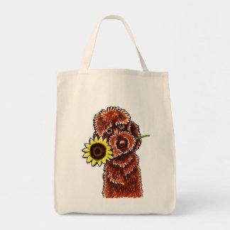 チョコレートLabradoodleの明るい以外鎖Art™ トートバッグ