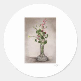 チョークで描かれる花 ラウンドシール