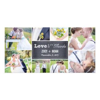 チョークで書かれたコラージュの結婚式は写真カード感謝していしています