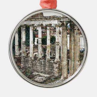 チョークのローマのフォーラム シルバーカラー丸型オーナメント