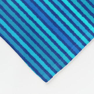 チョークは-コバルトおよびスカイブルー縞で飾ります フリースブランケット