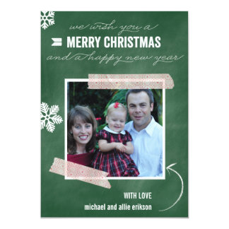 「チョーク + Washiの」(緑の)休日の写真カード カード