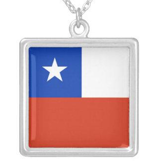 チリの旗が付いているエレガントなネックレス シルバープレートネックレス