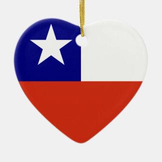 チリの旗のハート セラミックオーナメント