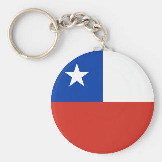 チリの旗 ベーシック丸型缶キーホルダー