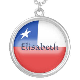 チリの旗 + 一流のネックレス シルバープレートネックレス