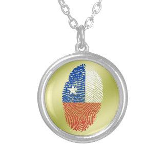 チリのtouchの指紋の旗 シルバープレートネックレス