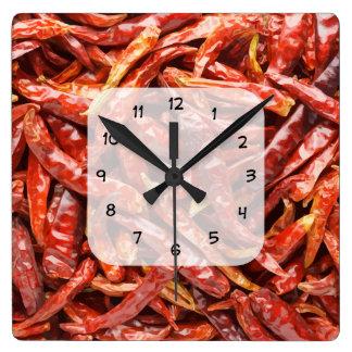 チリペッパーの台所時計 スクエア壁時計