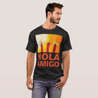 チリペッパーのHolaの友達のおもしろいで暗いカスタマイズ可能 Tシャツ