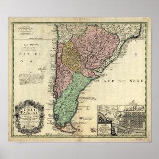 チリ及びパラグアイ1733年の旧式な地図 ポスター