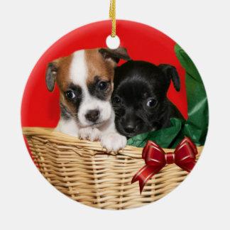 チワワのクリスマスの子犬 セラミックオーナメント
