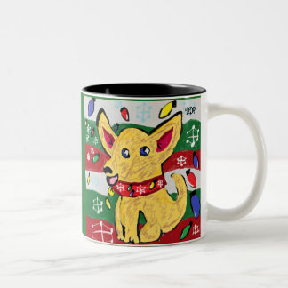 チワワのクリスマス ツートーンマグカップ