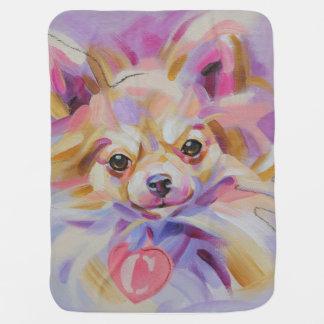 チワワのベビーブランケット-紫色の背部 ベビー ブランケット