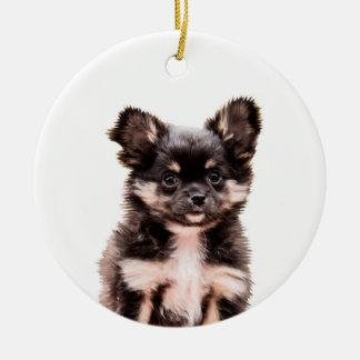 チワワの小犬の陶磁器のクリスマスのオーナメント セラミックオーナメント