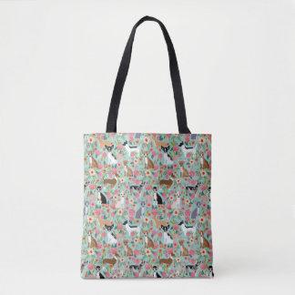 チワワの花模様のトートバック-チワワの花 トートバッグ