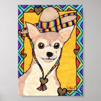 チワワ及び虹のソンブレロの小型メキシコ民芸 ポスター
