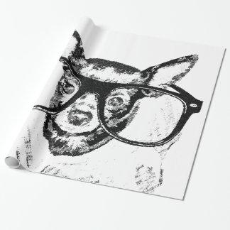 チワワ犬のイラストレーションのスケッチ ラッピングペーパー